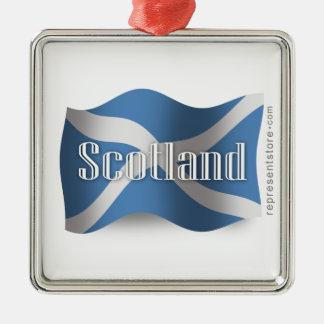 Scotland Waving Flag Metal Ornament