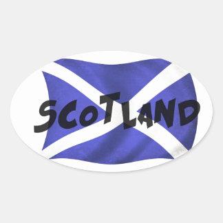 Scotland Wavy Flag Oval Sticker