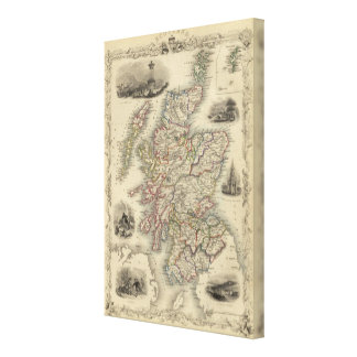 Scotland with inset map of the Shetland Islands Canvas Print