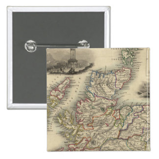 Scotland with inset map of the Shetland Islands Pinback Button