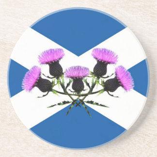Scotland's flower, thistle sandstone coaster