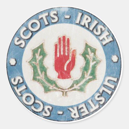 Scots-Irish / Ulster-Scots (distressed design) Round Stickers