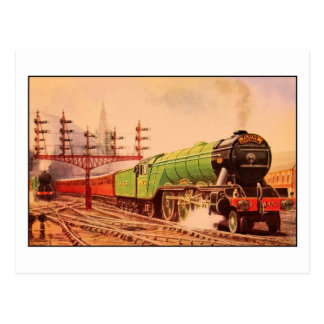 Scotsman locomotor del vuelo del vintage de la tarjetas postales