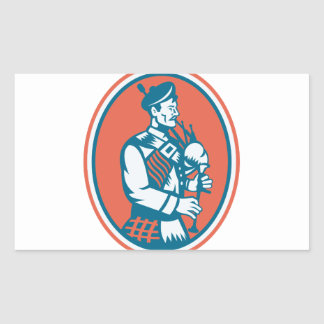 Scotsman Scottish Bagpipes Retro Rectangular Sticker