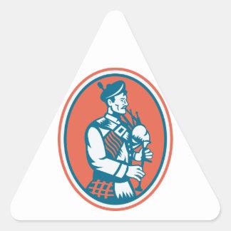 Scotsman Scottish Bagpipes Retro Triangle Sticker