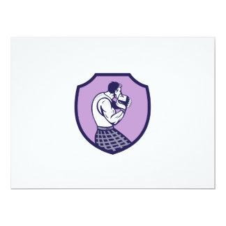 Scotsman Weight Throw Crest Retro 6.5x8.75 Paper Invitation Card
