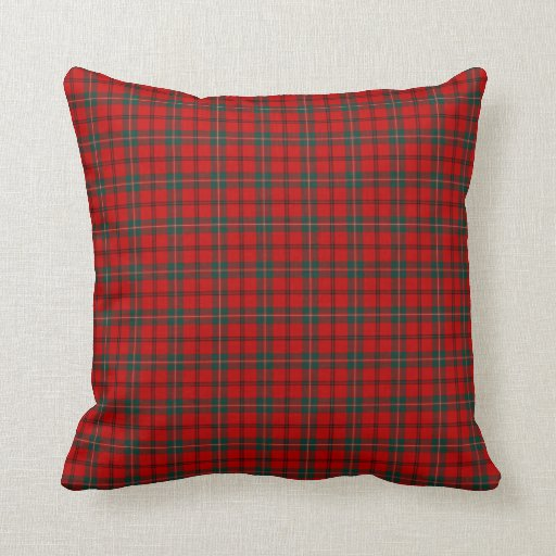 Decorative Pillows With Red In Them : Scott Clan Bright Red and Forest Green Tartan Throw Pillow Zazzle