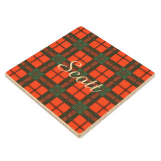 Scott clan Plaid Scottish tartan Wooden Coaster