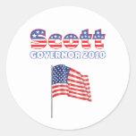 Scott Patriotic American Flag 2010 Elections Classic Round Sticker