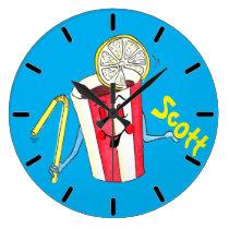 'Scott Soda' Light Royal Large Round Wall Clock