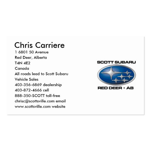 SCOTT SUBARU BUSINESS CARDS