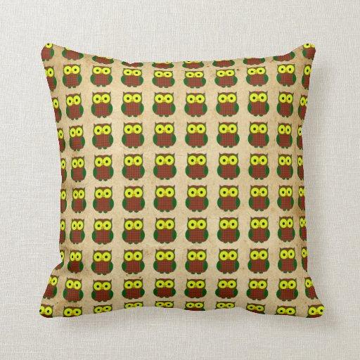 Scott Tartan Plaid Owl Pillows
