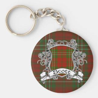Scott Tartan Shield Basic Round Button Keychain