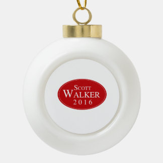 Scott Walker 2016 Red Oval Campaign Ceramic Ball Christmas Ornament