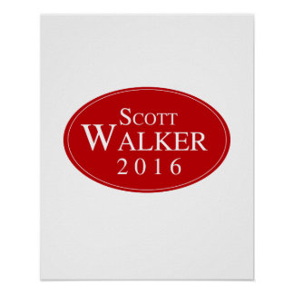 Scott Walker 2016 Red Oval Campaign Poster
