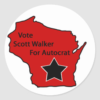 Scott Walker for autocrat Classic Round Sticker