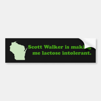 Scott Walker intolerance Car Bumper Sticker