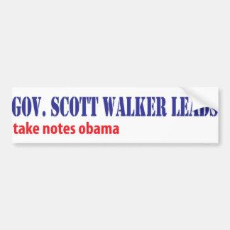 Scott Walker Leads Car Bumper Sticker