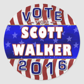 Scott Walker President 2016 Election Republican Classic Round Sticker