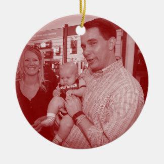 Scott Walker: Pro-Life Double-Sided Ceramic Round Christmas Ornament