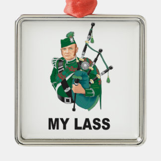 scott with bagpipe metal ornament