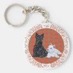 Scottie Adult & Westie Puppy Basic Round Button Keychain