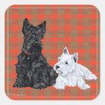 Scottie Adult & Westie Puppy Square Sticker