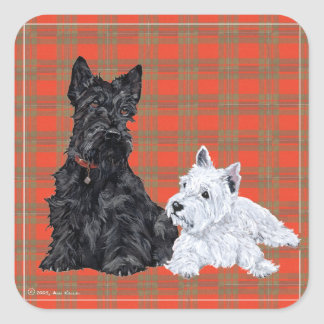 Scottie Adult & Westie Puppy Square Sticker