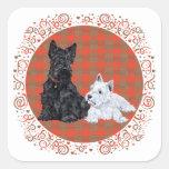 Scottie Adult & Westie Puppy Square Stickers
