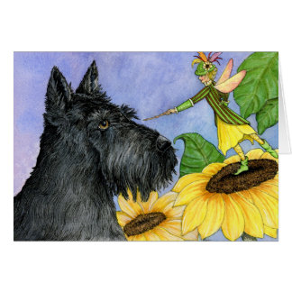 Scottie and the sunflower fairy greeting card