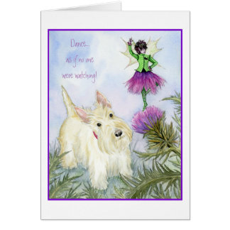 Scottie and the thistle fairy card