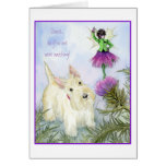 Scottie and the thistle fairy greeting card