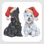 Scottie and Westie Caroling Square Sticker