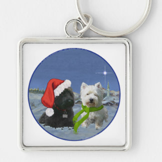 Scottie and Westie Christmas Star Keychains