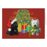 Scottie and Westie Christmas Wish Card