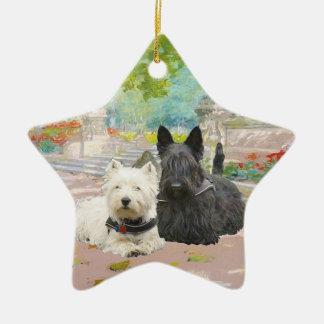 Scottie and Westie in a Garden Ceramic Ornament