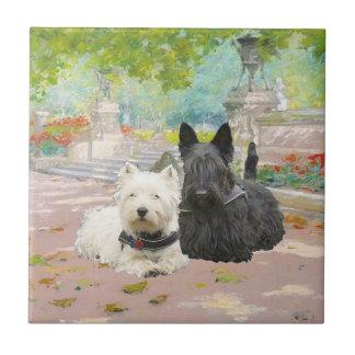 Scottie and Westie in a Garden Tile