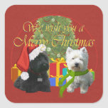 Scottie and Westie Merry Christmas Square Stickers