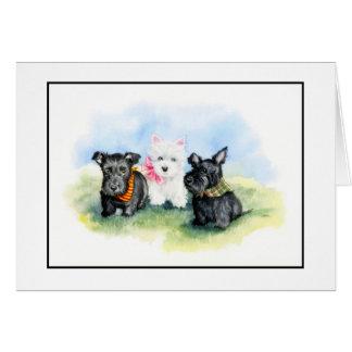 Scottie and Westie puppy trio Card