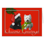 Scottie and Westie Seasons Greetings Greeting Card