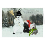 Scottie and Westie with Snowman Greeting Card