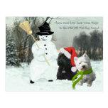 Scottie and Westie with Snowman Postcard