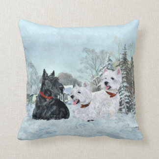 Scottie and Westies - Terrier Winter Pillow