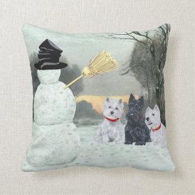 Scottie and Westies - Terrier Winter Pillow