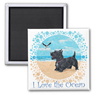 Scottie at the Beach 2 Inch Square Magnet