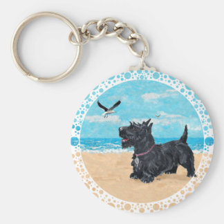 Scottie at the Beach Basic Round Button Keychain