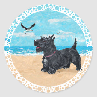 Scottie at the Beach Classic Round Sticker