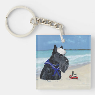 Scottie at the Beach Double-Sided Square Acrylic Keychain