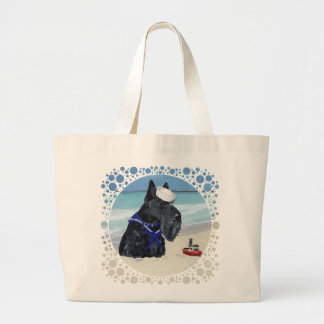 Scottie at the Beach Large Tote Bag
