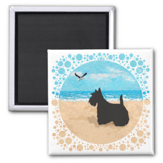 Scottie at the Beach with Seagull 2 Inch Square Magnet